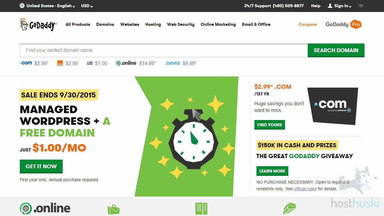screenshot of the GoDaddy homepage from the HostHuski help center