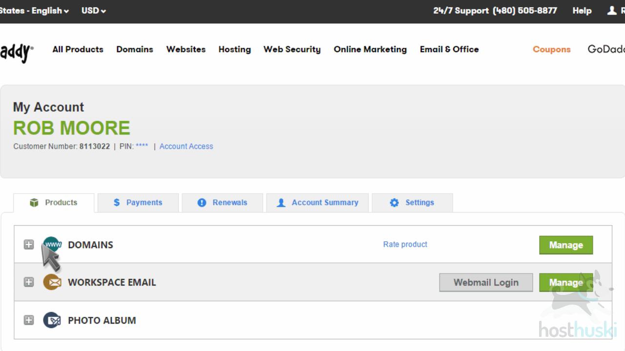 screenshot of GoDaddy domains manager from the HostHuski help center