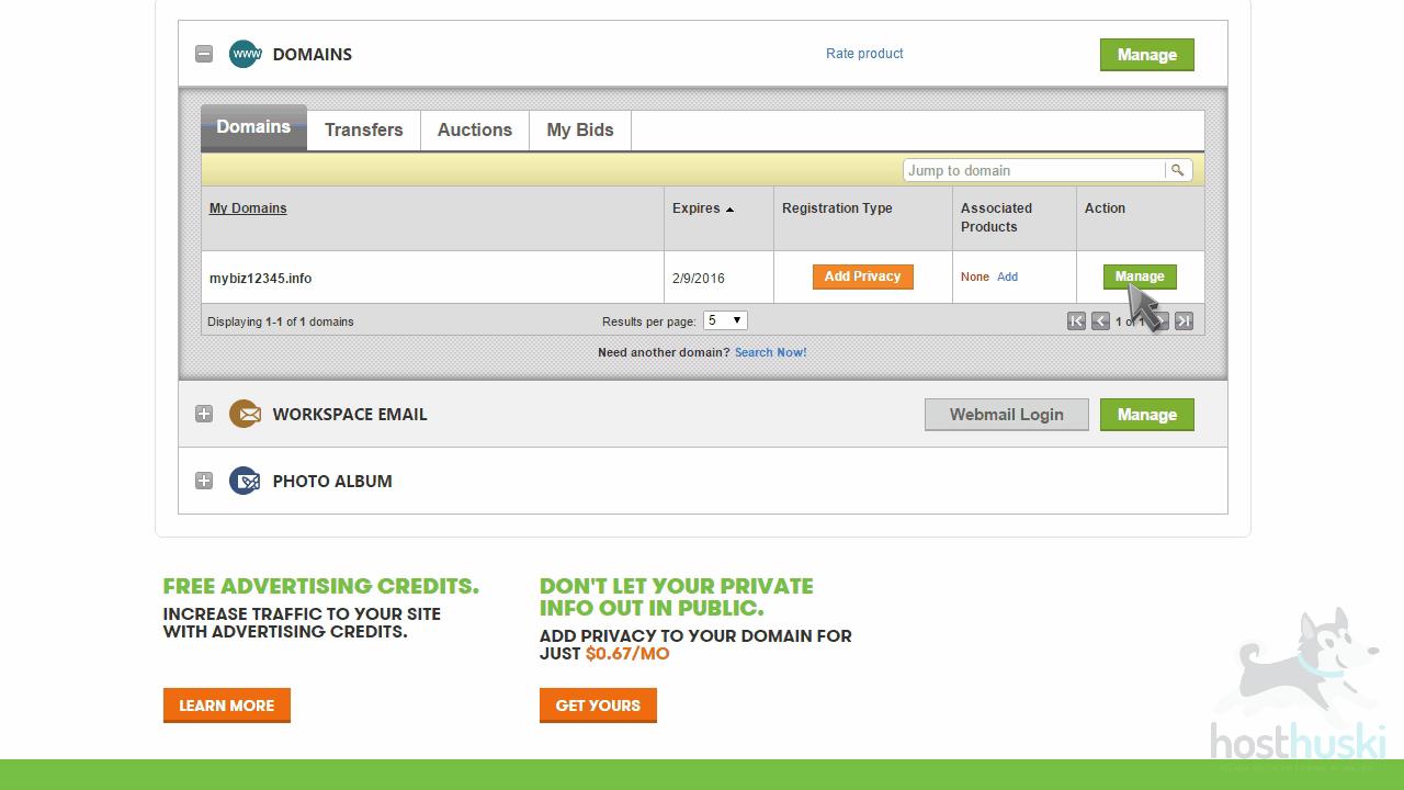 screenshot of GoDaddy domain management from the HostHuski help center