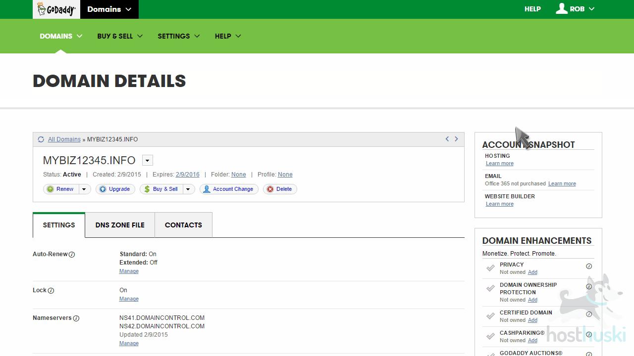 screenshot of GoDaddy domain details from the HostHuski help center