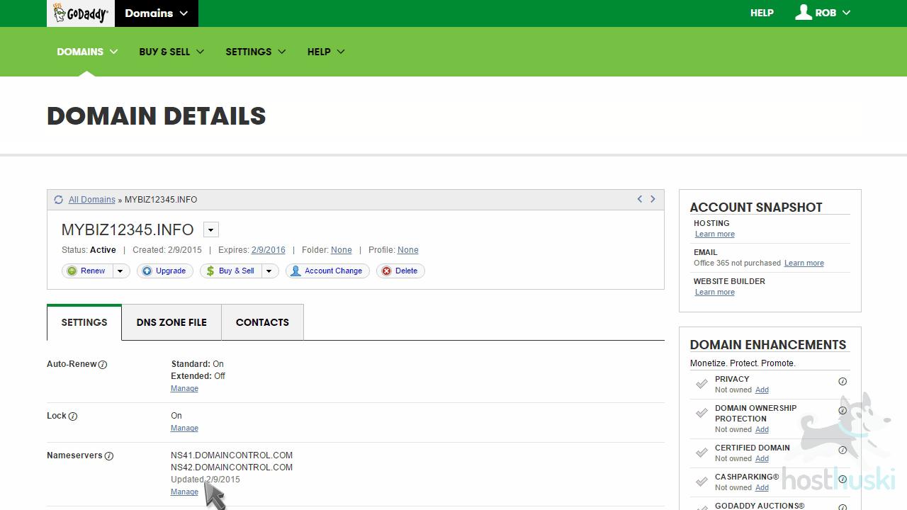 screenshot of GoDaddy domain management details from the HostHuski help center