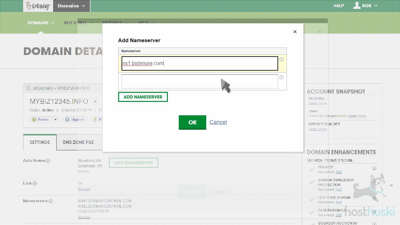 screenshot of GoDaddy add nameserver fields from the HostHuski help center