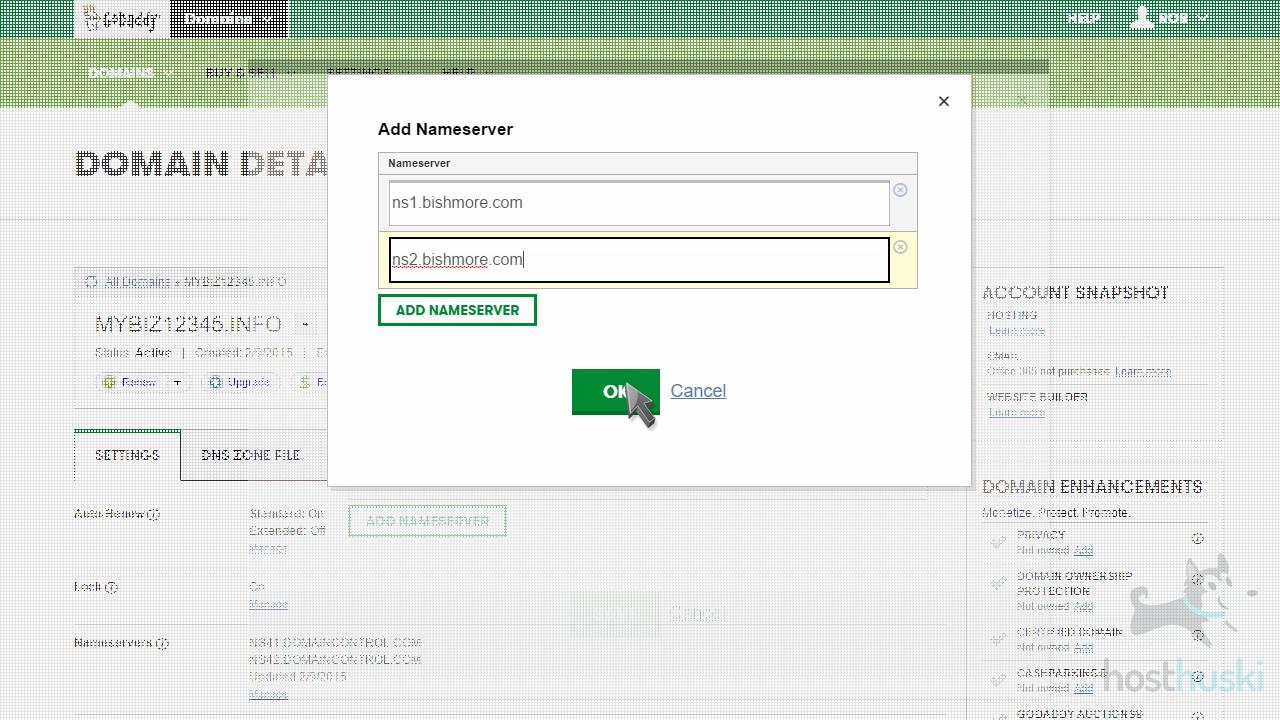 screenshot of GoDaddy custom nameserver fields from the HostHuski help center