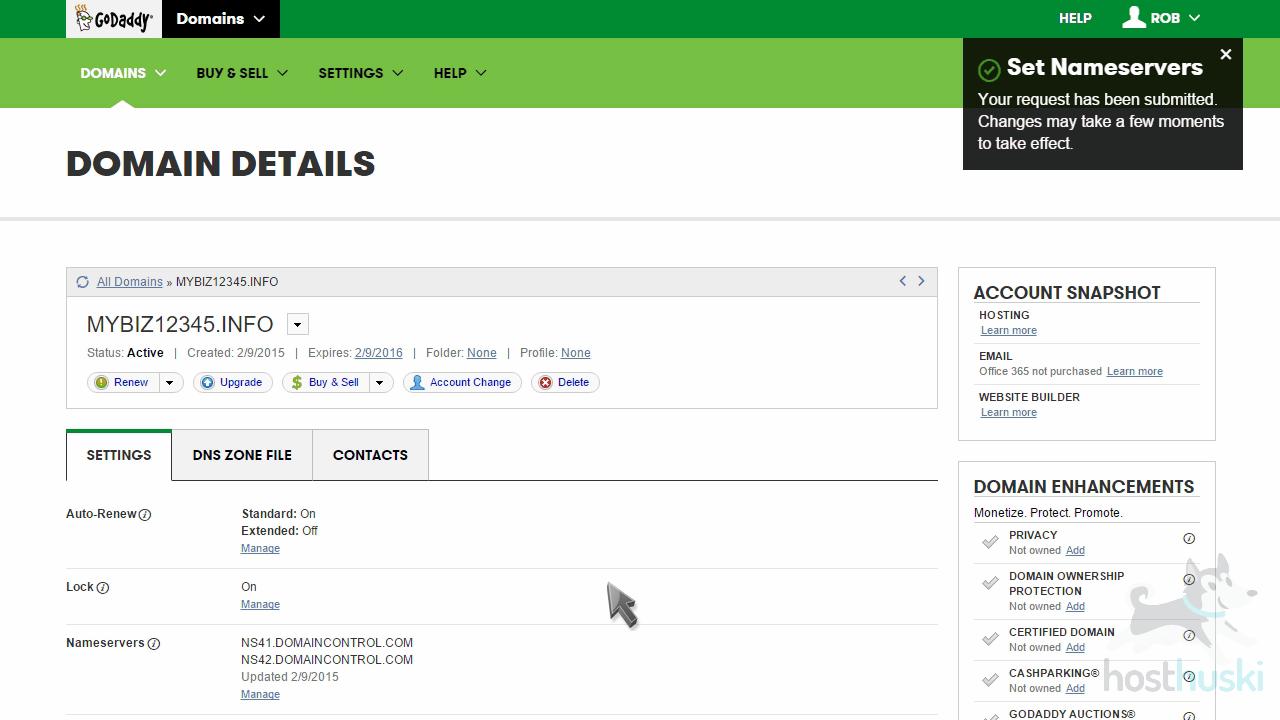 screenshot of GoDaddy nameserver confirmation from the HostHuski help center
