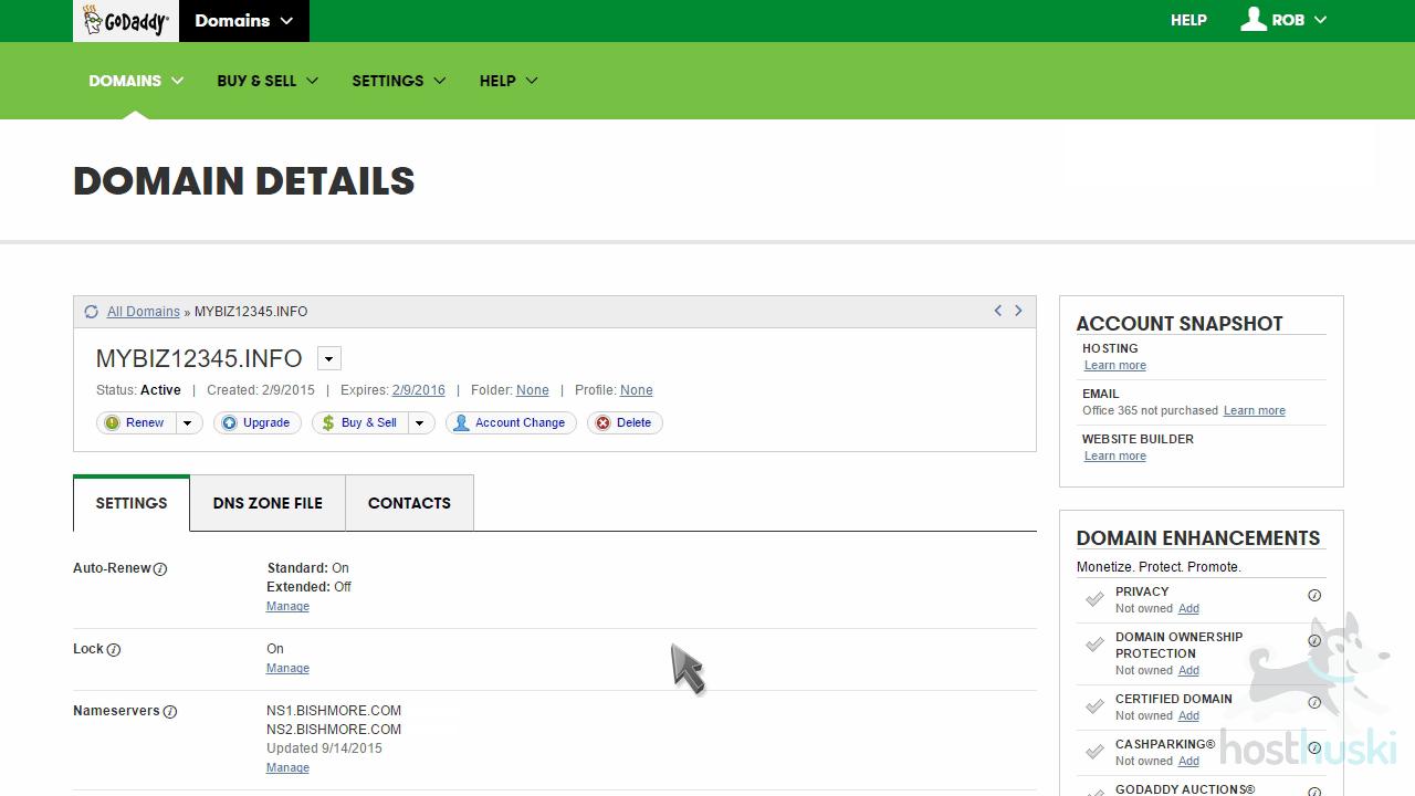 screenshot of GoDaddy nameserver changes from the HostHuski help center