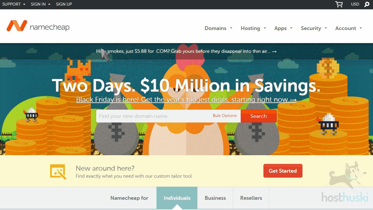 screenshot of Namecheap homepage from the HostHuski help center