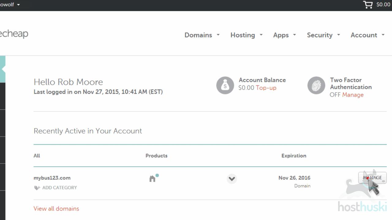 screenshot of Namecheap account from the HostHuski help center