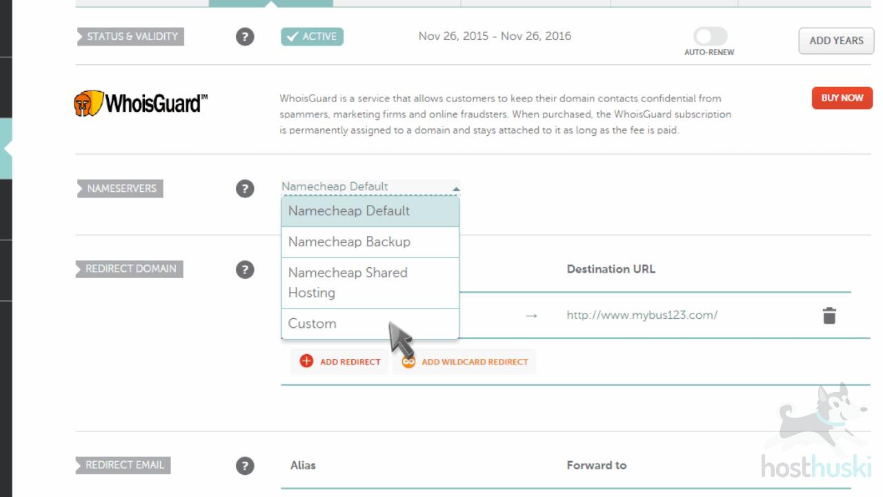 screenshot of Namecheap domain settings from the HostHuski help center