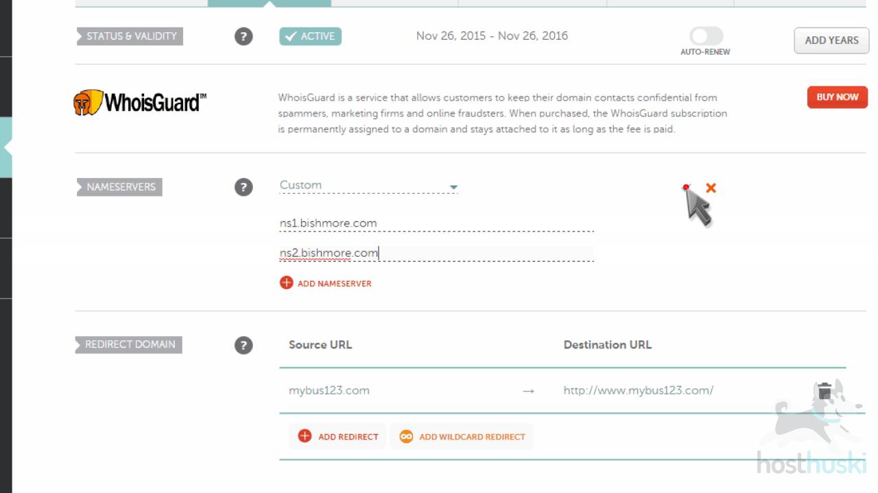 screenshot of Namecheap nameservers settings from the HostHuski help center