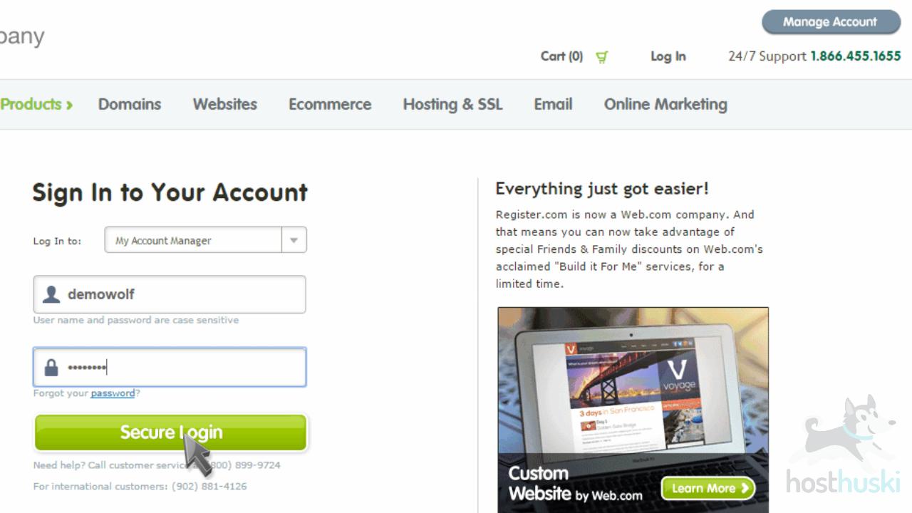 screenshot of Register login form from the HostHuski help center