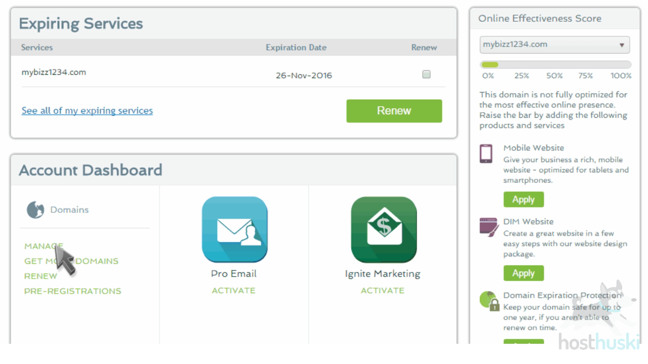screenshot of Register account dashboard from the HostHuski help center
