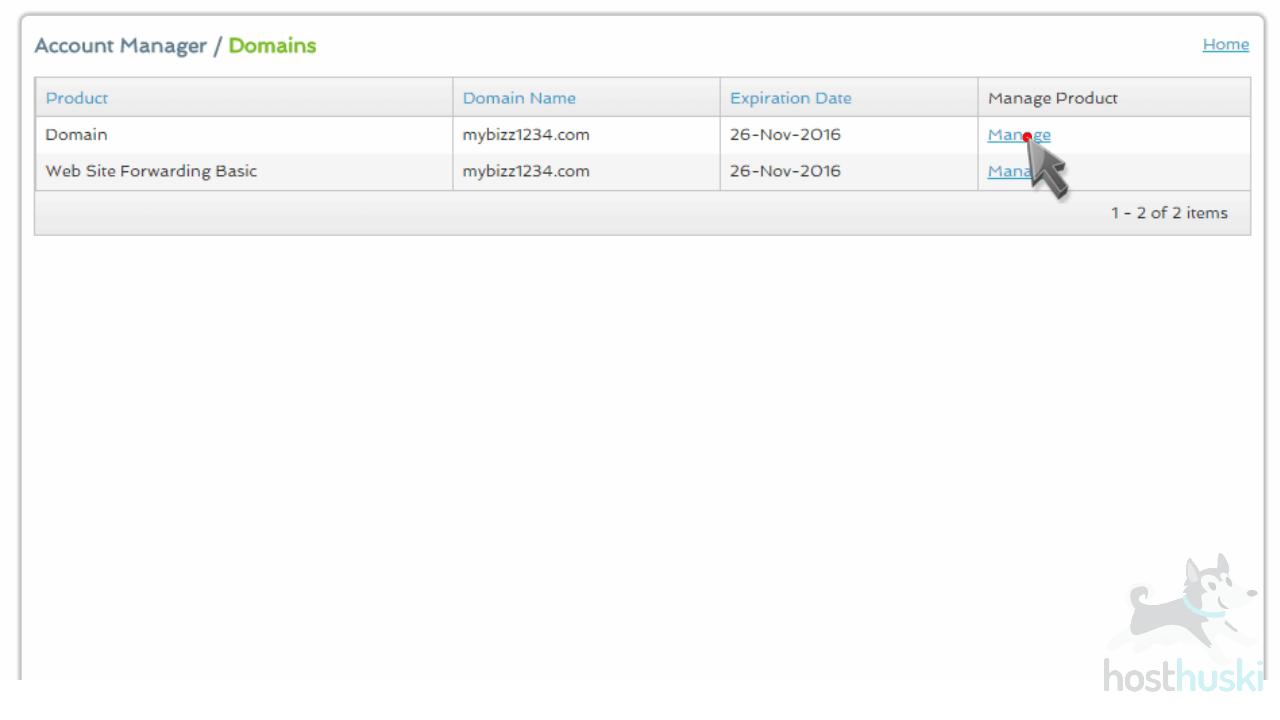 screenshot of Register domain management from the HostHuski help center