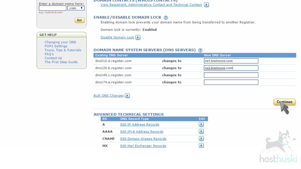 screenshot of Register domain nameserver management from the HostHuski help center