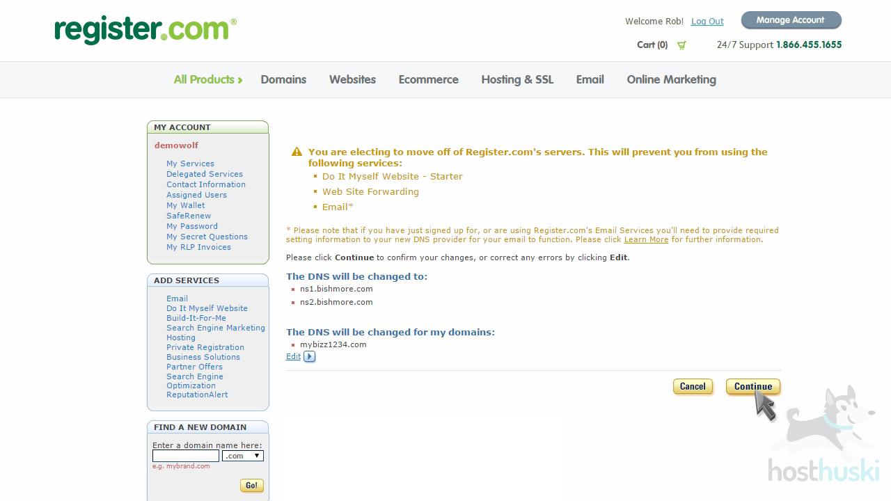 screenshot of Register nameserver changes from the HostHuski help center