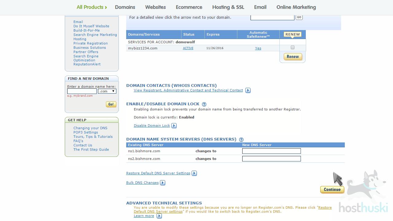 screenshot of Register nameservers changed from the HostHuski help center